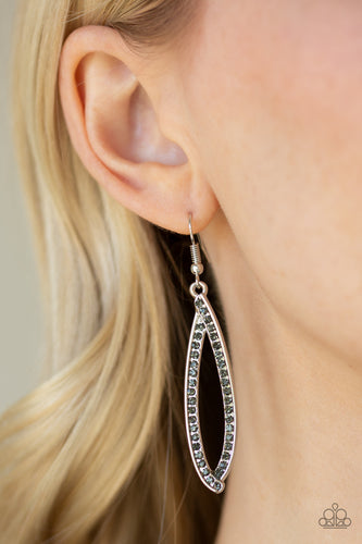 Encrusted in glittery smoky rhinestones, ribbons of silver delicately fold into an abstract teardrop for a classic look. Earring attaches to a standard fishhook fitting.  Sold as one pair of earrings. Always nickel and lead free.