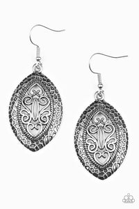 Paparazzi Tribal Tribute Silver Earrings