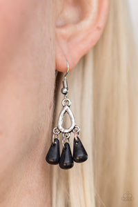 Chiseled into alluring teardrops, black stone beading trickles from the bottom of a dainty hammered frame, creating an earthy fringe. Earring attaches to a standard fishhook fitting.  Sold as one pair of earrings.  Always nickel and lead free.