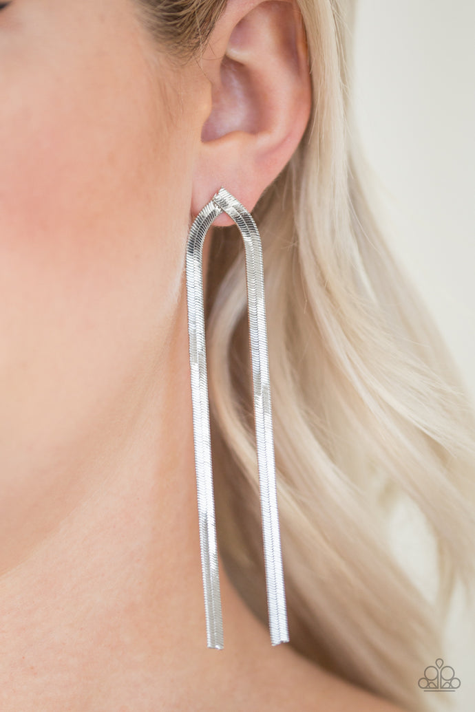 Flat silver snake chains drip from the ear, elegantly elongating the neck. Earring attaches to a standard post fitting.  Sold as one pair of post earrings.    Always nickel and lead free.