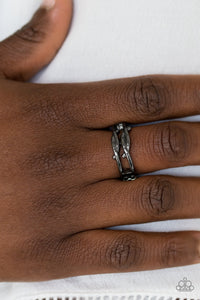 Glistening gunmetal bars fold across the finger, creating chic layered bands. Features a dainty stretchy band for a flexible fit.  Sold as one individual ring.  Always nickel and lead free.