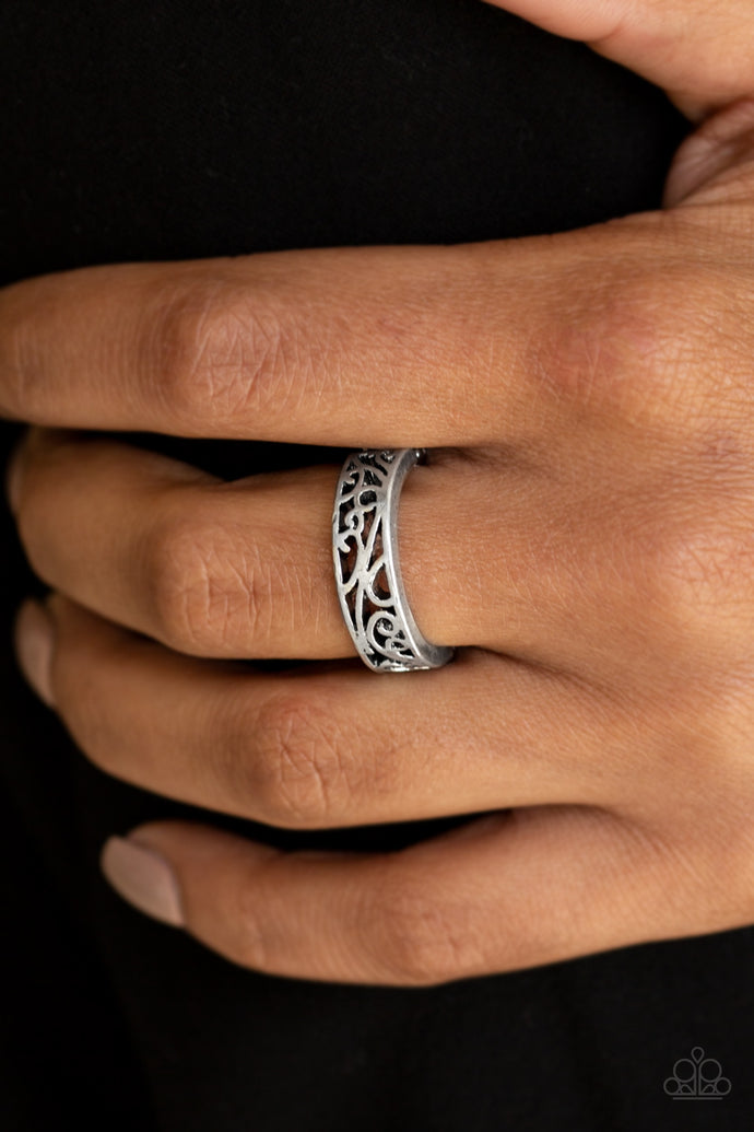 Brushed in an antiqued shimmer, vine-like filigree dances across the finger for a seasonal fashion. Features a dainty stretchy band for a flexible fit.  Sold as one individual ring.  Always nickel and lead free.