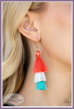Load image into Gallery viewer, Featuring coral, white, and blue thread, a 3-tiered tassel swings from the ear for a flirtatious look.