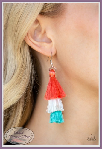 Featuring coral, white, and blue thread, a 3-tiered tassel swings from the ear for a flirtatious look.