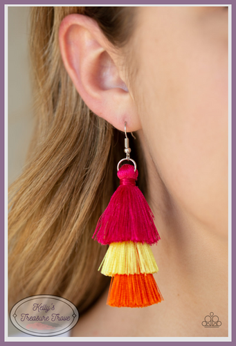 Featuring pink, yellow, and orange thread, a 3-tiered tassel swings from the ear for a flirtatious look.