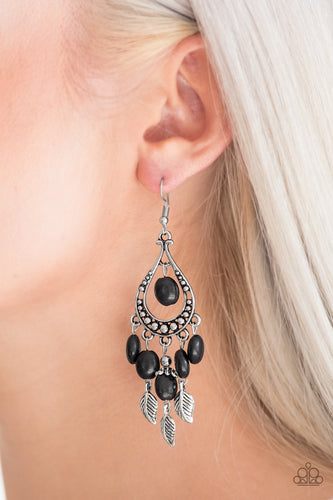 Smooth black stones and shimmery silver feather charms cascade from the bottom of a studded silver teardrop, creating a whimsical fringe. A matching black stone swings from the top of the frame for a seasonal finish. Earring attaches to a standard fishhook fitting.  Sold as one pair of earrings.  Always nickel and lead free.