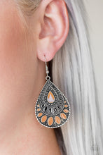 Load image into Gallery viewer, Painted in shiny Meerkat and black accents, an ornate silver teardrop drips from the ear for a wild look. Earring attaches to a standard fishhook fitting.  Sold as one pair of earrings.  Always nickel and lead free.