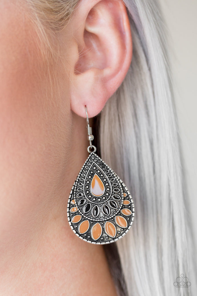 Painted in shiny Meerkat and black accents, an ornate silver teardrop drips from the ear for a wild look. Earring attaches to a standard fishhook fitting.  Sold as one pair of earrings.  Always nickel and lead free.