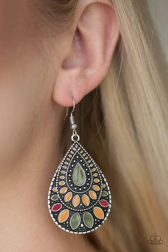 Painted in earthy green, yellow, and red accents, an ornate silver teardrop drips from the ear for a wild look. Earring attaches to a standard fishhook fitting.  Sold as one pair of earrings.  Always nickel and lead free.