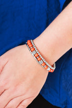 Load image into Gallery viewer, Vivacious orange beads and silver beads featuring round and cylindrical shapes are threaded along elastic stretchy bands. Stamped in tree-like patterns, faceted silver beads are sprinkled between the colorful beads for a whimsical finish.  Sold as one set of three bracelets.  Always nickel and lead free.