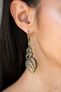 Dotted in glistening studs, antiqued brass ribbons swirl and swoop into a flame-like lure. Earring attaches to a standard fishhook fitting.  Sold as one pair of earrings.  Always nickel and lead free.