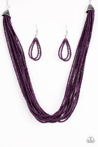 Wide Open Spaces Purple Seed Bead Necklace - Paparazzi