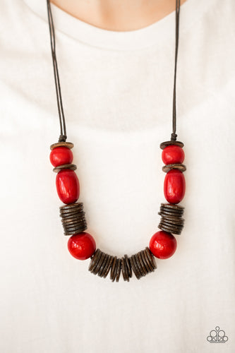 Brushed in a vibrant finish, red wooden beads and brown wooden discs are threaded along shiny brown cording for a summery look. Features an adjustable sliding knot closure.  Sold as one individual necklace. Includes one pair of matching earrings. Always nickel and lead free.
