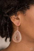 Load image into Gallery viewer, Rippling with grate-like stenciled detail, a shiny copper teardrop frame swings from the ear for a seasonal look. Earring attaches to a standard fishhook fitting.   Sold as one pair of earrings.  Always nickel and lead free.