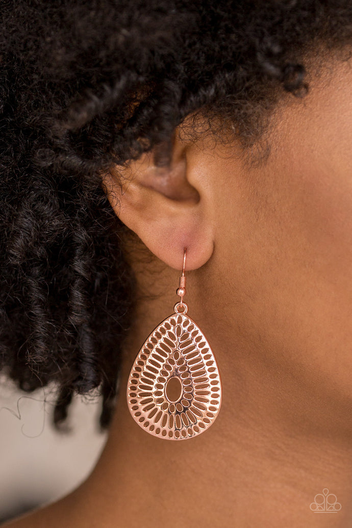 Rippling with grate-like stenciled detail, a shiny copper teardrop frame swings from the ear for a seasonal look. Earring attaches to a standard fishhook fitting.   Sold as one pair of earrings.  Always nickel and lead free.
