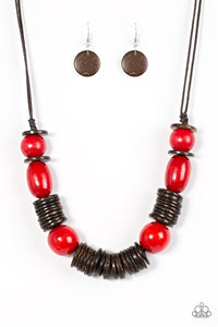Paparazzi You Better BELIZE It! Red Necklace Set