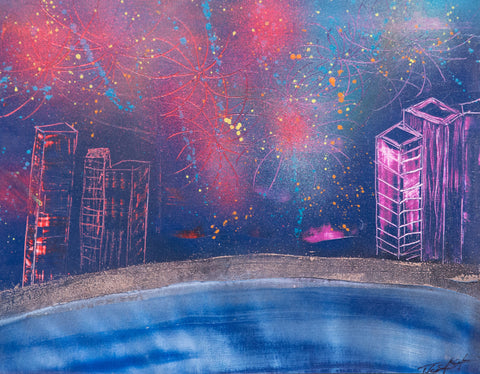 City 112 Spray Paint on Canvas Panel