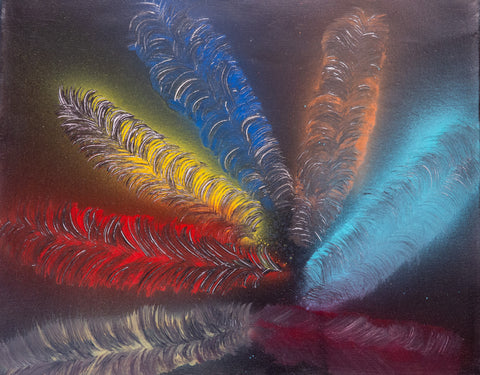 Feathers 101 Spray Paint on Canvas