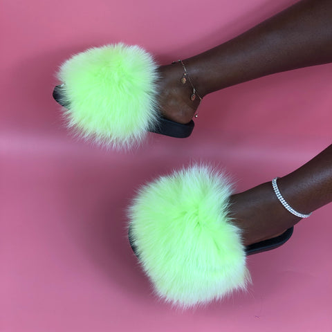 Neon Green Extra Big Fur Sliders