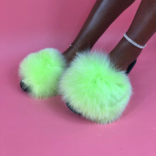 Load image into Gallery viewer, Neon Green Extra Big Fur Sliders