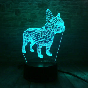 3D Awesome French Bulldog LED Lamp