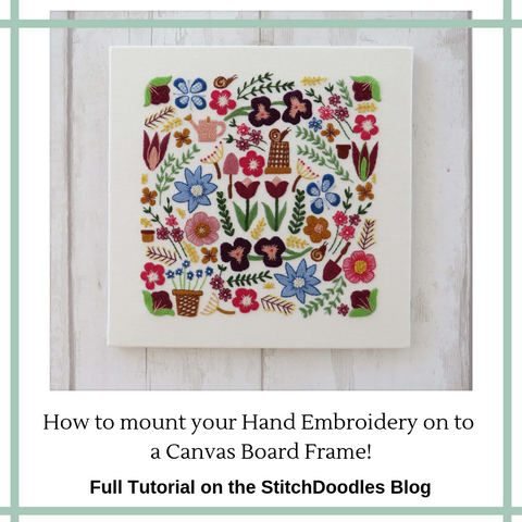 mount your hand embroidery on a canvas board
