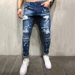 1a6258e3e48 Slim-Fit Stretch Jeans, Hole Painting, White Trousers, Pleated Feet Pants