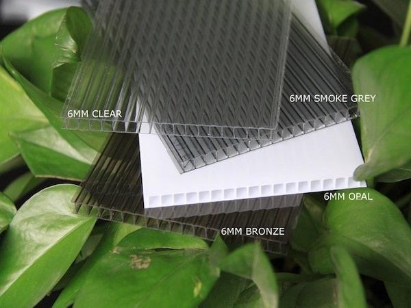 Grow-Fresh Greenhouses- 6mm Twin Wall 100% Raw GrowLux UV2 Polycarbonate Sheets