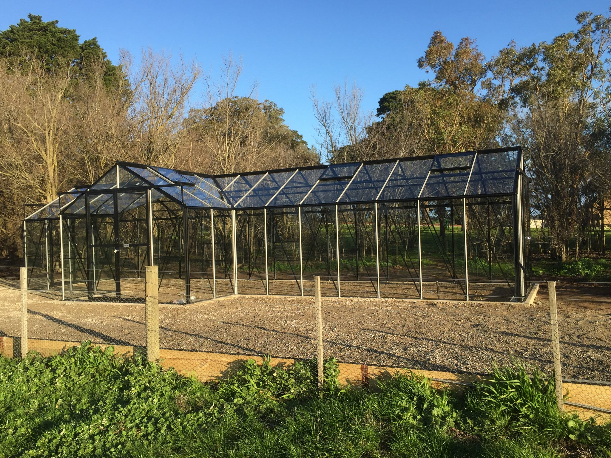 Grow-Fresh Greenhouses- Grandiose Orangery With Extensions On Left Side & Right Side- Glass (Black)