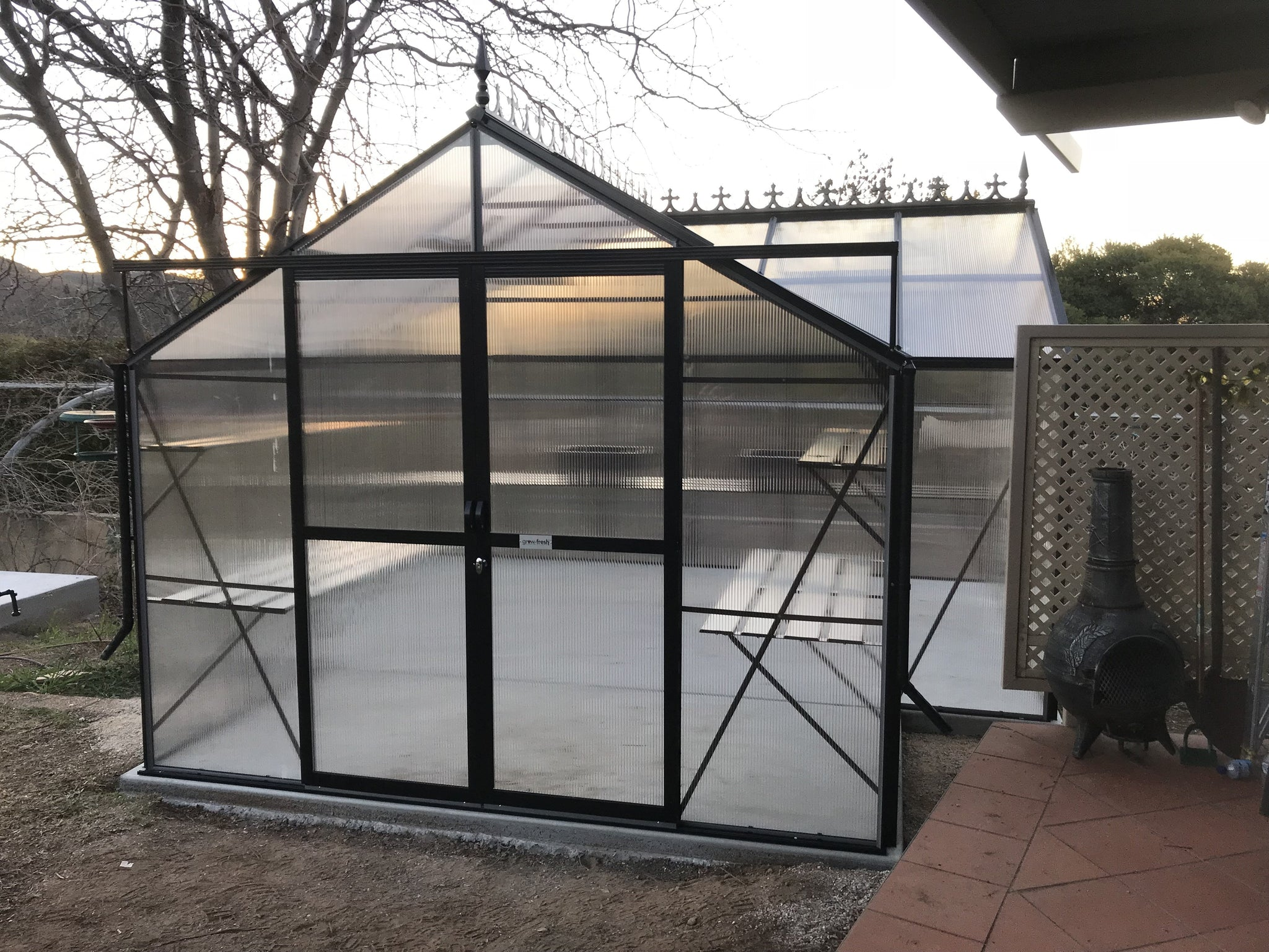Grow-Fresh Greenhouses- 4500 Grandiose Orangery Polycarbonate Greenhouse (Black)
