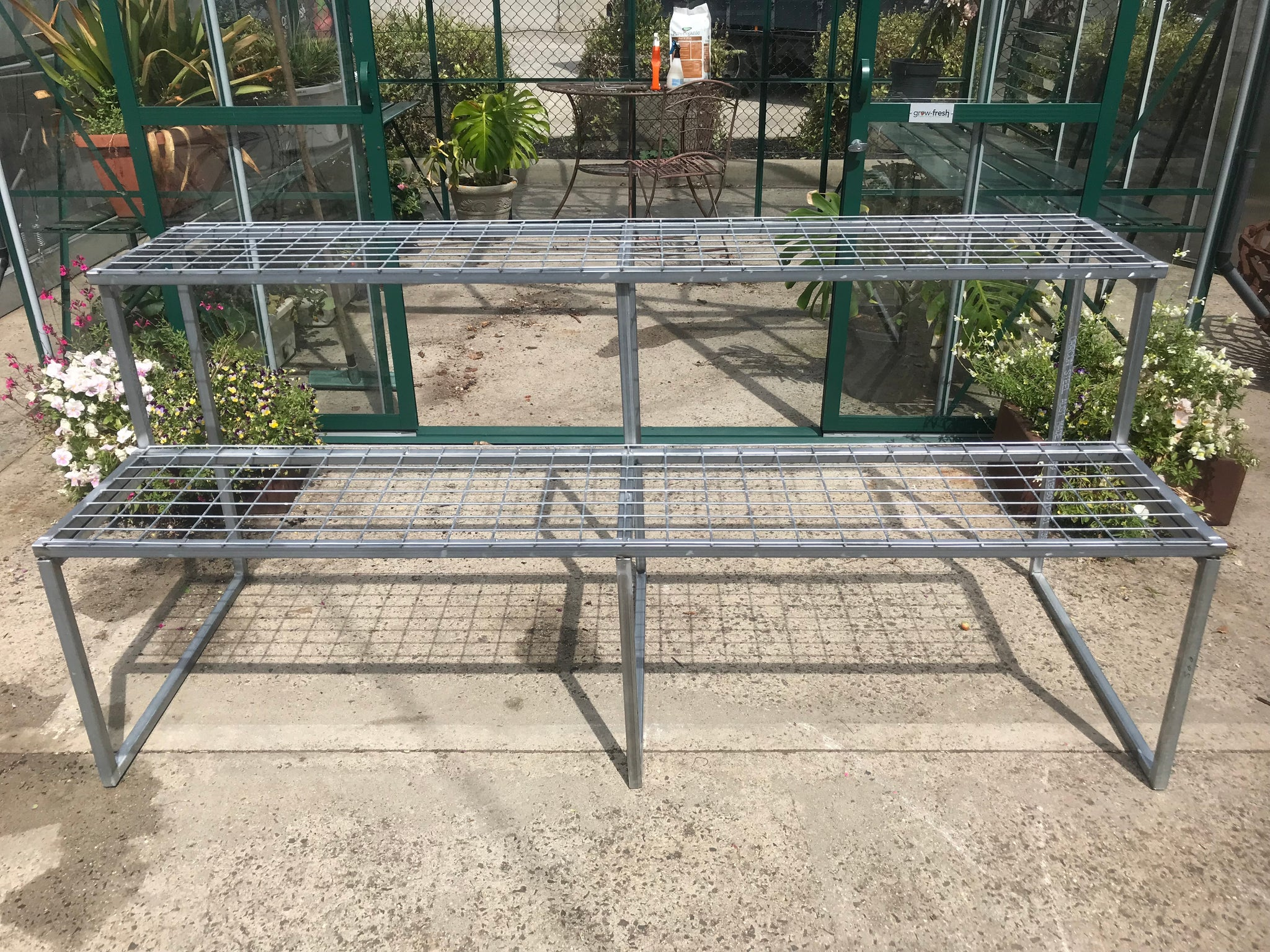 2-Tier Galvanised Mesh-Top Bench- 2000Lx800Wx900H