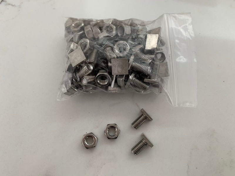 Greenhouse Square Head Bolts/Nuts x50- 6mmD x 10mmL