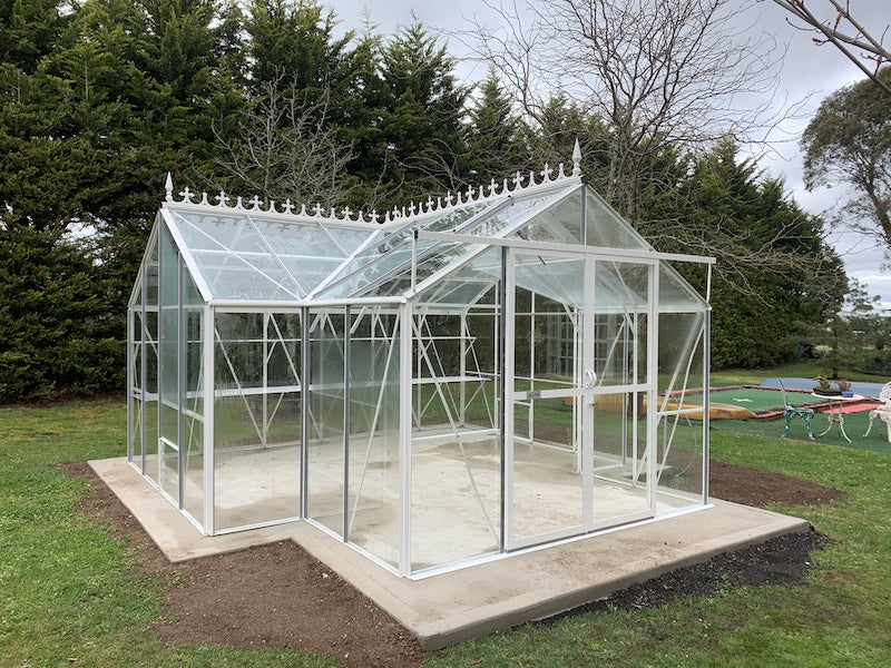 Grow-Fresh Greenhouses- Grandiose Orangery Toughened Glass Glasshouse (White)