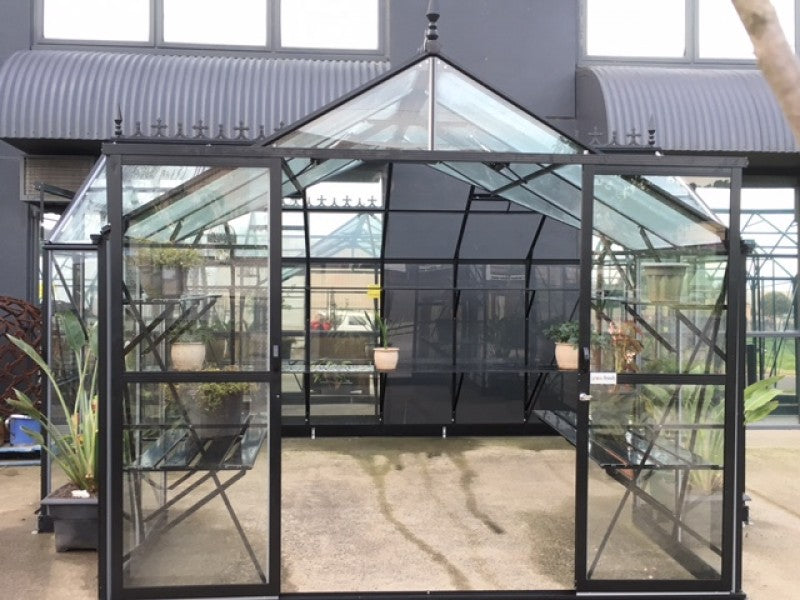 Grow-Fresh Greenhouses- Grandiose Orangery Toughened Glass Glasshouse (Black)