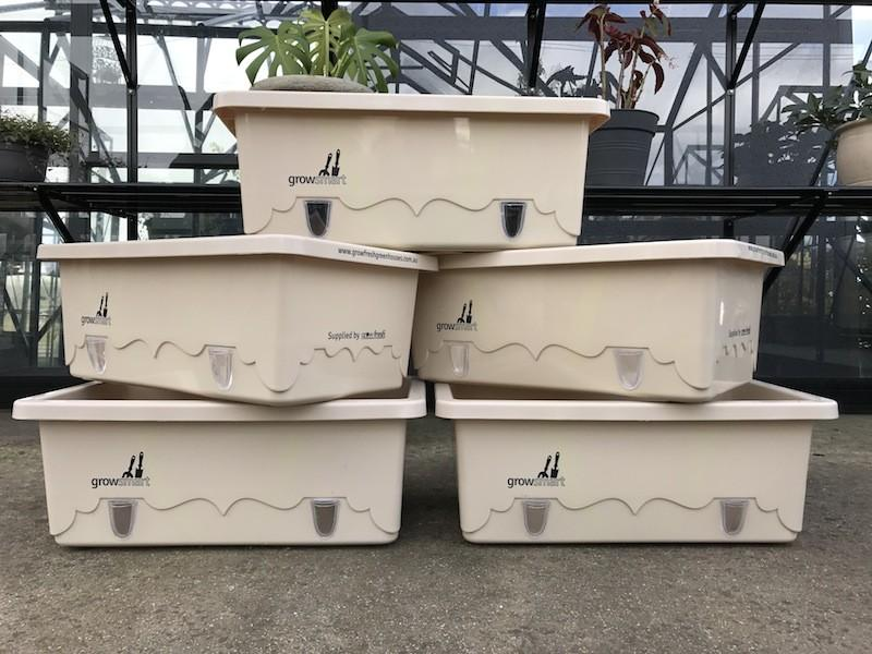 Grow-Fresh Greenhouses- GrowSmart Self Watering Wicking Pots (Cream) Pots, Tubs, Self Watering, Container, Wicking