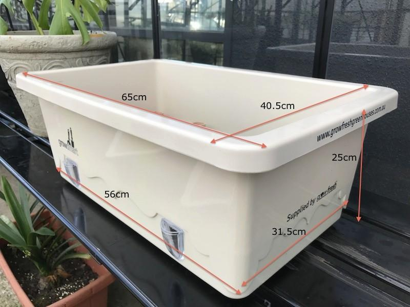 Grow-Fresh Greenhouses- GrowSmart Self Watering Wicking Pot Measurements (Cream) Pots, Tubs, Self Watering, Container, Wicking