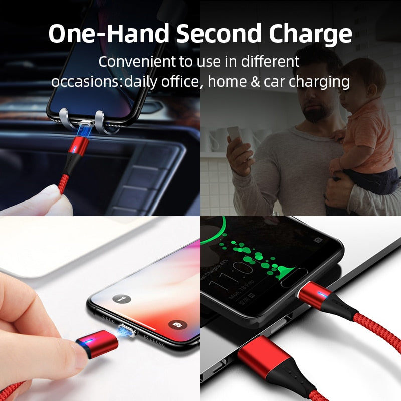High Qaulity Mobile Phone 3A Magnetic Cable Charger 2m Micro USB