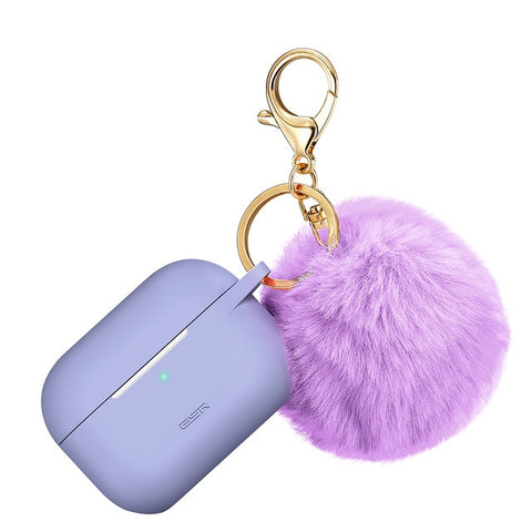 Image of AirPods Pro Case With Fluffy Pom Pom Keychain