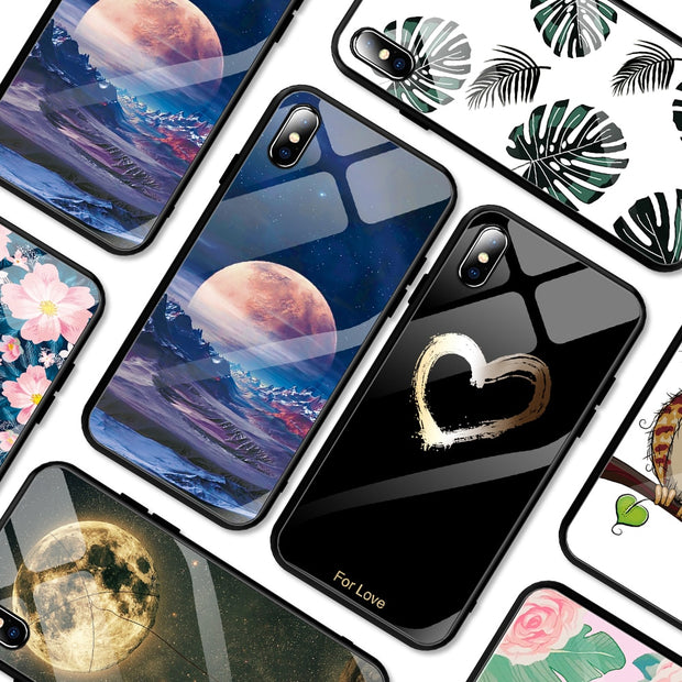 Case For iPhone XS MAX XR 6 6S 7 8 Plus Phone Cases Clear Tempered Glass Pattern Cover For iPhone XS Max XR 10 Ultra Thin Case