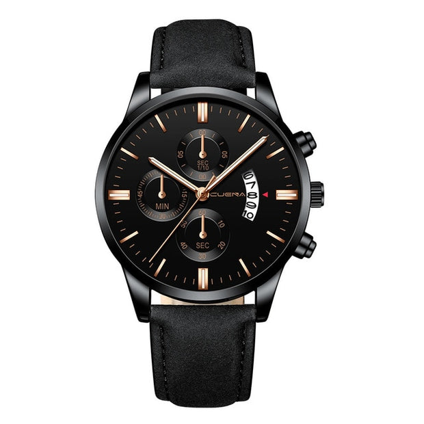 Smart Men's Fashion Sport Stainless Steel Case Leather Band Watch