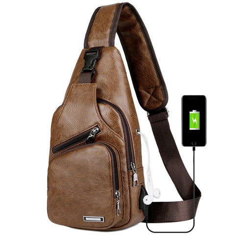 Image of Luxury Travel Cross Bag with USB Charging Port
