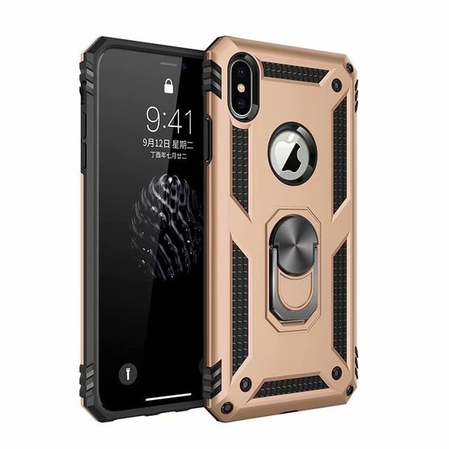 Luxury Case For IPhone XS Max X XR Case Fit Soft Bumper Armour Heavy Duty Hard Stand Back Cover