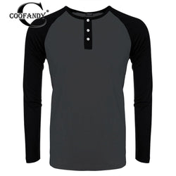 COOFANDY Slim Men Color Tops Baseball Long O-Neck Raglan Casual Patchwork Sport All Contrast Season Sleeve T-Shirt Fit