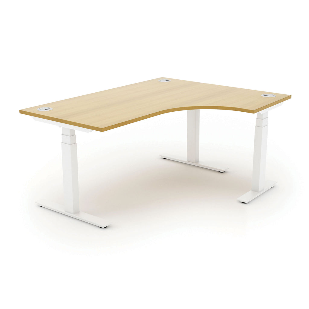 Electric Sit and Stand Crescent/Corner Ergonomic Desk with a Dual Motor | Autonomy Pro