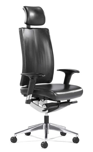 Stylish executive office leather chair in black | Flex-exec