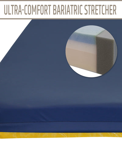 "Ultra Comfort Bariatric Stretcher - 24""x76x4"""" - 8"" Taper @ Head"