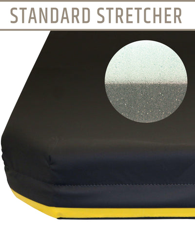 "NAMC 4"" Standard Stretcher Pad with Color Identifier - 24""x76"" - 12"" Taper @ Head; 4"" @ Foot"