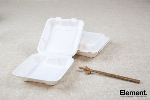 Bagasse 8X8 Clamshell Food Containers