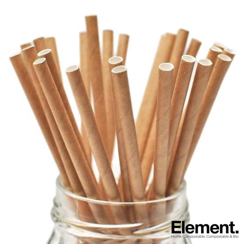 Compostable Kraft Brown Paper Straw 6*197Mm (250Pcs) Straws