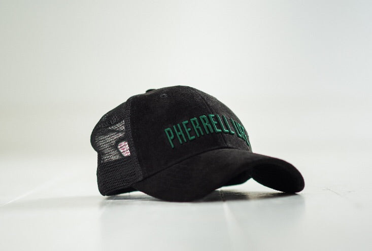 9af0a267db0 Pherrell life black and green suede trucker cap